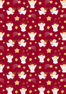 Lewis & Irene - A Little Christmas Star CHR10.3 Little Angels on Deep Red