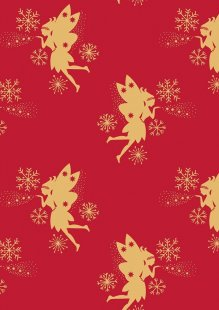 Lewis & Irene - Make A Christmas Wish CHR7.2 Fairies on Red (Metallic)