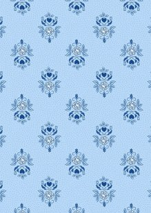 Lewis & Irene - Teatime A425.2 Little bird roses on china blue