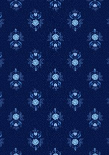 Lewis & Irene - Teatime A425.3 Little bird roses on darkest blue