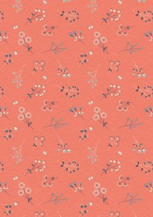 Lewis & Irene - The Hedgerow A252.1 - Hedgerow Flowers On Peachy Coral