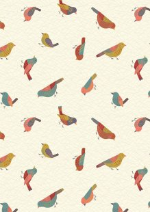 Lewis & Irene - The Hedgerow A253.1 - Hedgerow Birds On Cream