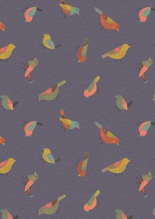Lewis & Irene - The Hedgerow A253.3 - Hedgerow Birds On Warm Grey