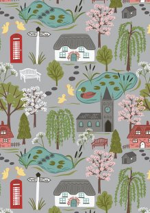Lewis & Irene - The Village Pond A447.1 Village scene on light grey