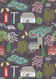 Lewis & Irene - The Village Pond A447.3 Village scene on dark grey