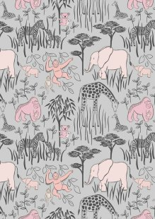 Lewis & Irene - Welcome Home A214.3 - Animal Parents With Babies Pink On Grey