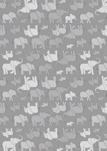 Lewis & Irene - Welcome Home A216.3 - Marching Elephant Family Grey On Grey