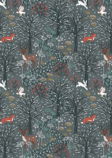Lewis & Irene - Winter In Bluebell Wood C42.3 Winter woods on dark grey/blue
