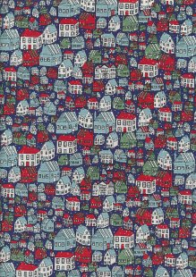 Liberty - A Festive Collection Yule Town 750A Red, Green and Aqua on Blue