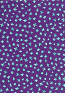 Liberty Cotton Lawn - Turquoise Leaves Purple LOR248