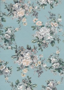 Lady McElroy Cotton Lawn - Camellia Ocean Turquoise-853