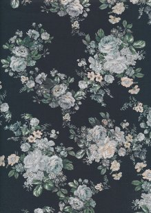Lady McElroy Cotton Lawn - Moonlight Camellia Black-852
