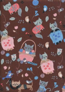 Knitting Catz - Brown