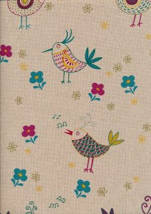 Linen Look Cotton - Turquoise Birds & Flowers On Taupe