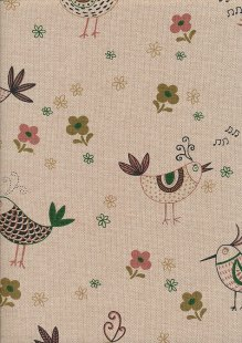 Linen Look Cotton - Pink Birds & Flowers On Taupe