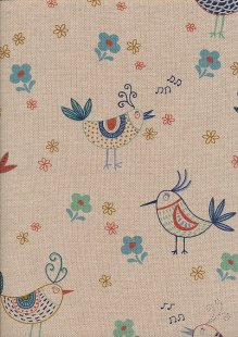 Linen Look Cotton - Blue Birds & Flowers On Taupe