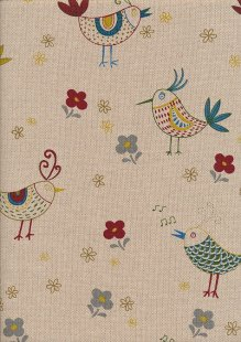 Linen Look Cotton - Red Birds & Flowers On Taupe