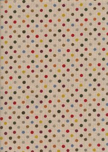 Linen Look Cotton - Yellow & Red Spots On Taupe