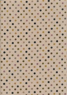 Linen Look Cotton - Black & Yellow Spots On Taupe