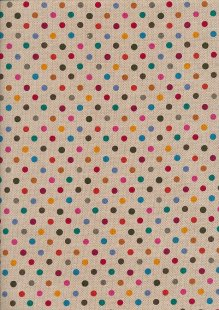 Linen Look Cotton - Pink & Yellow Spots On Taupe