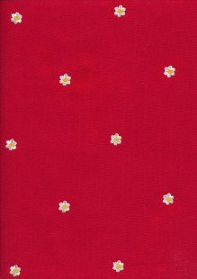 Linen Look Cotton - Embroidered Flower On Red