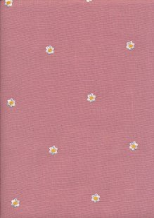 Linen Look Cotton - Embroidered Flower On Pink