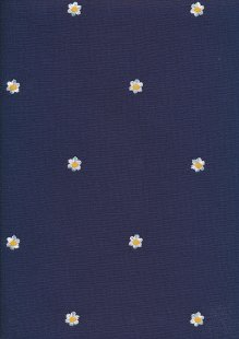 Linen Look Cotton - Embroidered Flower On Blue