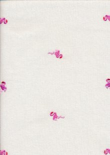 Linen Look Cotton - Pink Flamingos On Ivory