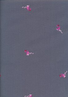 Linen Look Cotton - Pink Flamingos On Grey