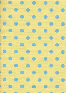 Linen Look Cotton - Medium Spot Blue on Yellow