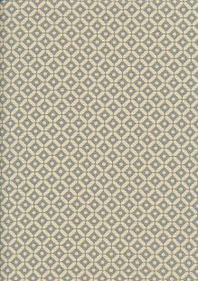 Linen Look Cotton - Morrocan Tiles Cream on Olive