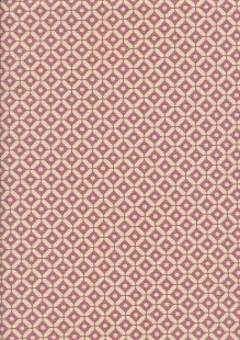 Linen Look Cotton - Morrocan Tile Cream on Pink