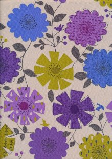 Linen Look Cotton - Purple, Green, Blue Sketched Floral