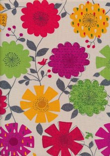 Linen Look Cotton - Red, Pink, Orange, Green Sketched Floral