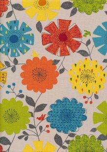 Linen Look Cotton - Orange, Yellow, Blue, Green Sketched Floral