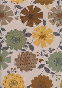 Linen Look Cotton - Brown, Beige, Khaki, Yellow Sketched Floral