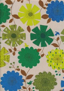 Linen Look Cotton - Blue, Green Sketched Floral