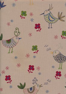 Linen Look Cotton - Little Bird Red and Green