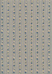 Linen Look Poly Cotton - Linear Blue Rose On Cream