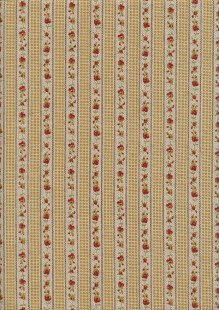Linen Look Poly Cotton - Linear Red Rose On Cream