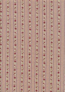 Linen Look Poly Cotton - Linear Pink Rose On Cream