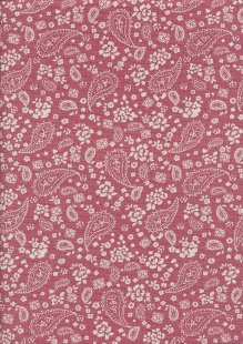 Linen Look Poly Cotton - Cream Paisley On Pink
