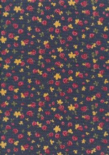 Linen Look Poly Cotton - Rose On Navy