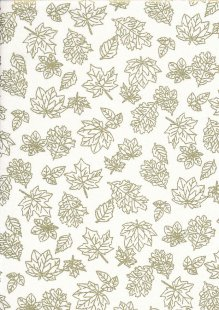 John Louden Christmas Metallic Print - New Leaf Cream/ Gold JLX001CRE