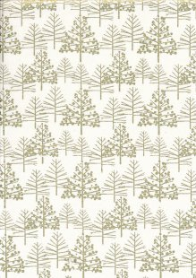 John Louden Christmas Metallic Print - Foil Tree Cream/ Gold JLX0017CRE