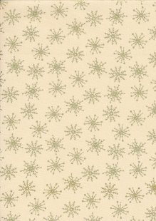 John Louden Christmas Metallic Print - Snow Flake Antique/ Gold JLX0012ANT