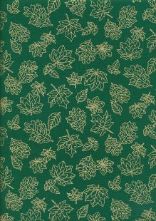 John Louden Christmas Metallic Print - New Leaf Green/ Gold JLX0011GREE