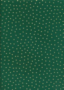 John Louden Christmas Metallic Print - Spaced Star Green/ Gold JLX0014GRE