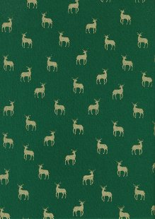 John Louden Christmas Metallic Print - New Reindeer Green/ Gold JLX009GRE