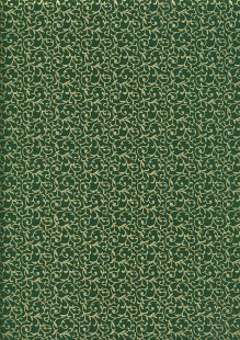 John Louden Christmas Metallic Print - New Scroll Green/ Gold JLX001GRE